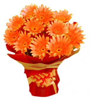 Bunch Of Orange Gerbera: Friend  India