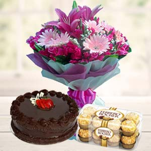 Orchids Combo: Anniversary flowers & chocolates  India
