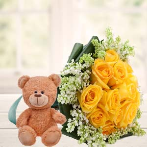 Yellow Roses And Teddy: Birthday flowers Sikar (rajasthan),  India