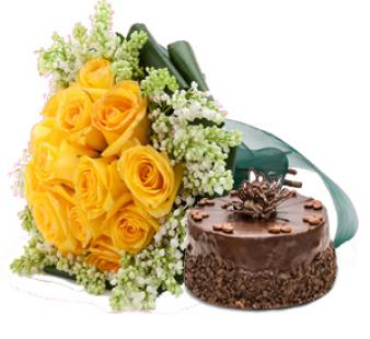 Yellow Roses And Cake: Anniversary flowers & cake Gurdaspur,  India