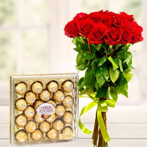 Ferrero Rocher Combo: Anniversary flowers & chocolates Ghaziabad,  India