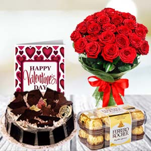 Chocolate Combo: Birthday flowers and greeting card Warangal,  India