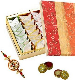 Rakhi With Mixed Mithai: Rakhi Gurgaon,  India