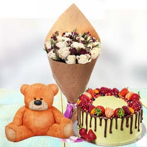 Roses Cake And Teddy: Rose Day Chandigarh,  India