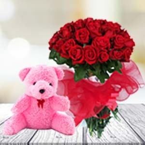 24 Red Roses & Teddy Combos Chocolates With Heart Shape, India