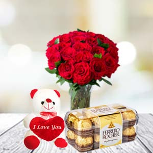 Rose Bunch, Chocolate & Soft Toy: Teddy Day Pune,  India