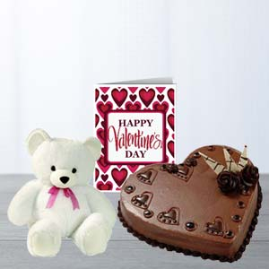 Heart Cake, Teddy & Card: Karwa Chauth Gifts Chandigarh,  India