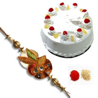 Rakhi With Pineapple Cake: Rakhi Gurgaon,  India