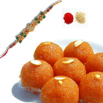 Rakhi With Motichoor Laddoo: Rakhi Kapurthala,  India