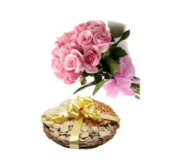 Pink Rose With Dryfruits: Lohri Gifts Jalandhar,  India