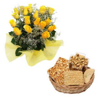 Yellow Roses With Lohri Gifts: Lohri Gifts Mathura,  India