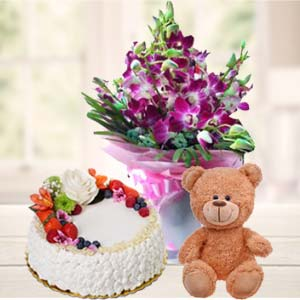 Teddy Bear, Flowers And Cake: Birthday flowers & cake Varanasi,  India