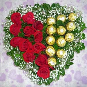 Heart Shaped Ferrero Rocher Arrangement: Mothers day flowers chocolates Bhagalpur (bihar),  India