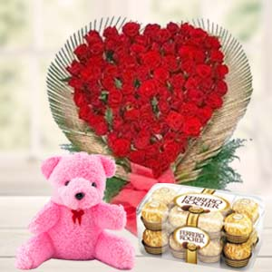 Valentine Flower & Teddy Combo: Propose day  India