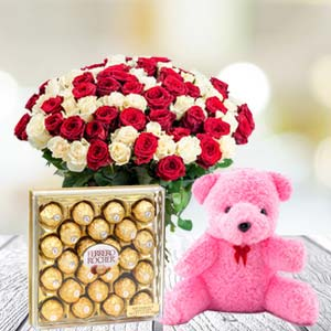 Valentine Chocolate & Teddy Combo: Valentine's Day Gifts For Girlfriend Sambalpur,  India
