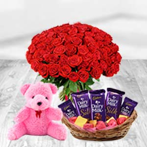 Valentine Chocolate Basket Combo: Teddy Day Bhilai,  India