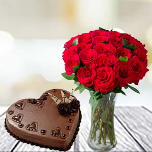 Valentine Cake & Flower Combo: Rose Day Kochi,  India