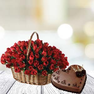 rose-basket-and-cake-gift for him-india
