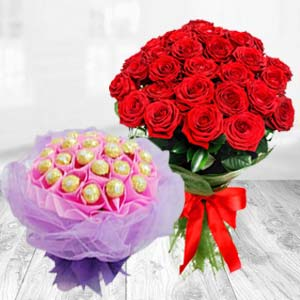 Flower Bunch With Chocolates Bouquet: Rose Day Jagadhri,  India