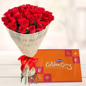 Red Roses Bouquet With Cadbury Celebrations: Valentine's Day Rishikesh,  India