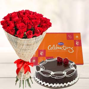 Roses Combo With Cake : Anniversary flowers & chocolates Vapi,  India
