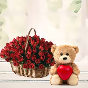 Roses Basket With Teddy Bear: New born Ambala,  India