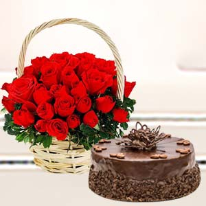 Basket Of Roses With Cake: Birthday Agra Cantt,  India
