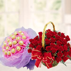 Chocolate Combo With Red Roses: Karwa Chauth Gifts Mumbai,  India