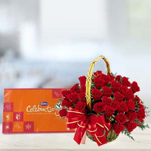 Cadbury Celebration With Roses: Anniversary flowers & chocolates Hoshiarpur,  India