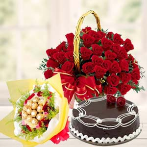 Roses Combo With Chocolates Bunch: Valentine Gifts For Husband Ajmer,  India