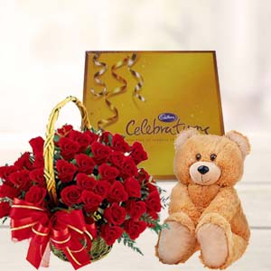 Roses With Teddy And Cadbury: Gift Hooghly,  India
