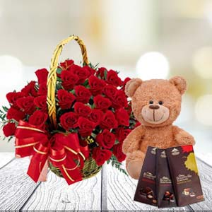 Roses With Teddy And Temptations: Gift Meerut,  India
