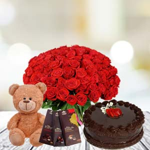 Valentine Basket Combo With Temptations: Hug Day Hooghly,  India