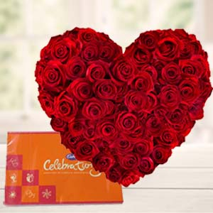Heart Shaped Arrangement With Cadbury: Karwa Chauth Gifts Faizabad,  India