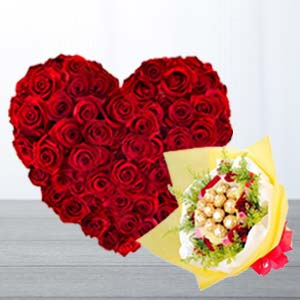 Heart Shaped Arrangement With Chocolates: Valentine's Day Gifts For Girlfriend Karnal,  India