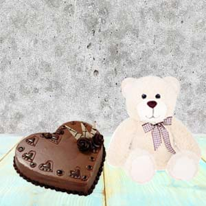 Heart Shaped Cake Combo With Teddy: Birthday Noida,  India