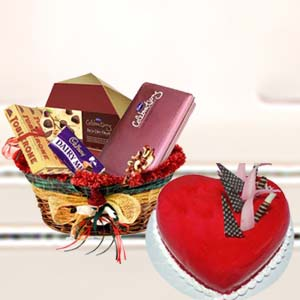 Heart Shaped Cake With Mix Chocolates: Birthday Meerut,  India