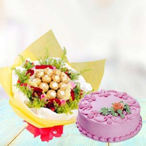Ferrero Rocher Bunch With Cake: Valentine's Day Gifts For Boyfriend Ghaziabad,  India