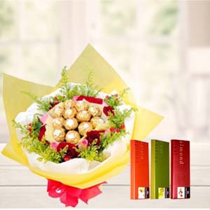 Ferrero Rocher Bunch With Temptations: Valentine Gifts For Wife Dehradun,  India