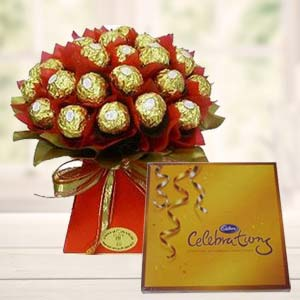 Ferrero Rocher Bouquet With Cadbury: Mothers day Dhanbad,  India