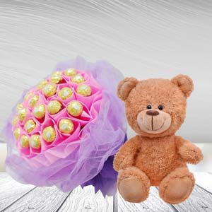 Ferrero Rocher Bunch With Teddy Bear: 1st birthday gifts Dehradun,  India