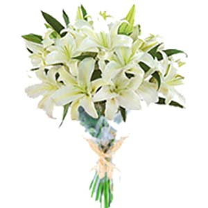 White Lilies Bunch: Mothers day flowers and greeting cards Lucknow,  India