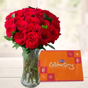 Roses In Glass Vase With Cadbury: Gifts For Husband Kolkata,  India