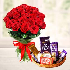 Chocolate Basket With Roses: Anniversary flowers & chocolates Bikaner (rj),  India