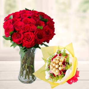 Roses In Vase With Ferrero Rocher: Gifts For Him Bhopal,  India