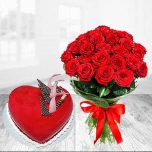 Red Heart Shaped Cake Combo: Valentine Gifts For Husband Banaras,  India