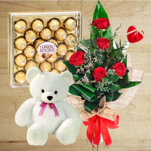 Chocolate Combo With Softtoys: Anniversary flowers & chocolates Ambala Cantt,  India