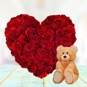 Heart Shaped Roses Combo: Valentine Gifts For Husband Rohtak,  India