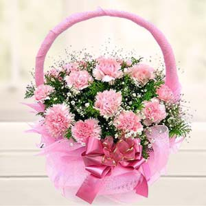 Carnations Basket: Karwa Chauth Gifts Mathura,  India