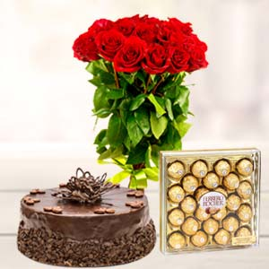 Ferrero Rocher Combo 24 Pieces: Anniversary flowers & cake Dhanbad,  India